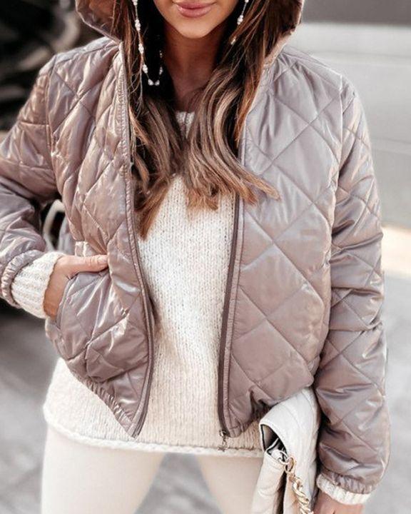 Argyle Quilted Zip Up Elastic Hem Hooded Jacket gallery 6