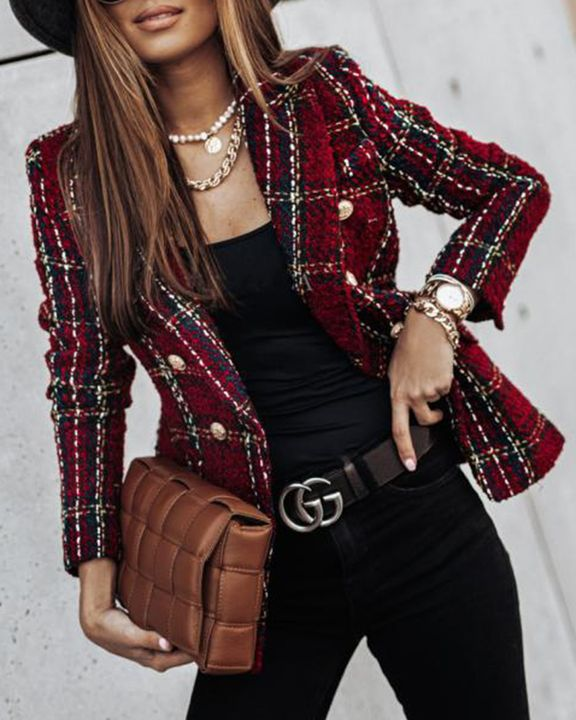 Plaid Print Double Breasted Lapel Neck Blazer gallery 2
