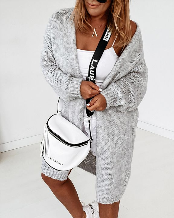 Solid Chunky Knit Drop Shoulder Open Front Cardigan gallery 14