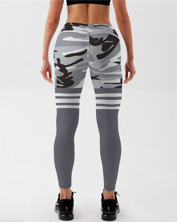 Camo Stripe Print High Waist Sports Leggings gallery 3