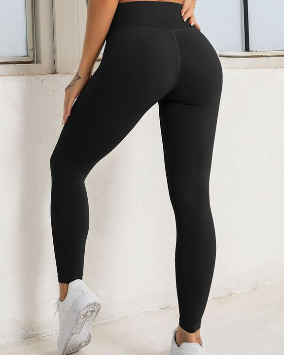 Solid High Waist Butt Lifting Cropped Sports Leggings gallery 7