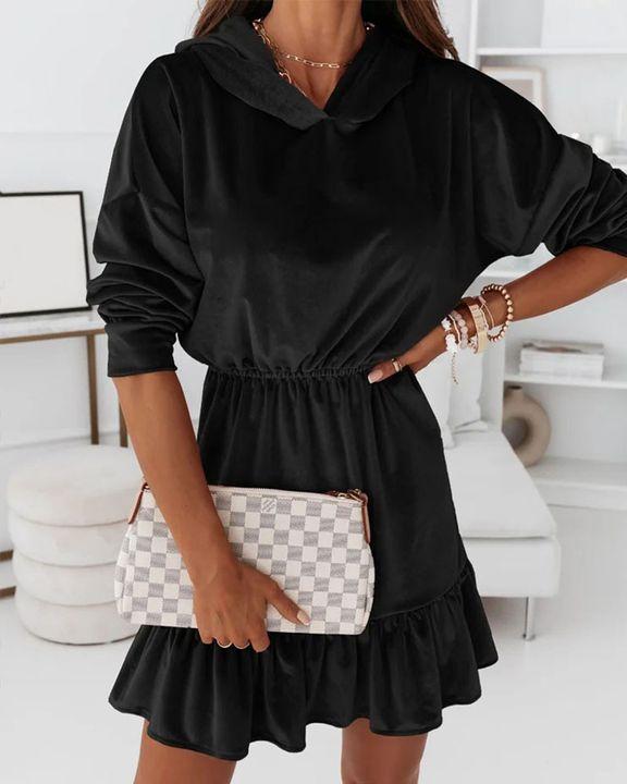 Velvet Solid Ruffle Hem Elastic Hooded Mini Dress gallery 2