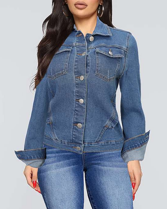 Button Up Flap Pocket Denim Jacket gallery 1
