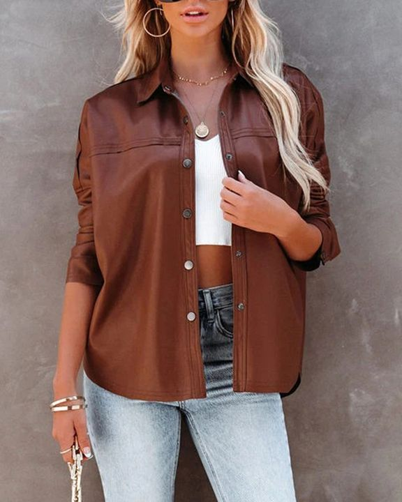 PU Leather Button Up Jacket gallery 13