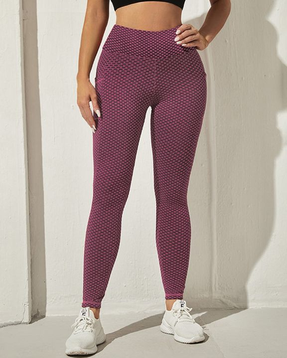 Honeycomb Textuerd Pocket Side Sports Leggings gallery 23