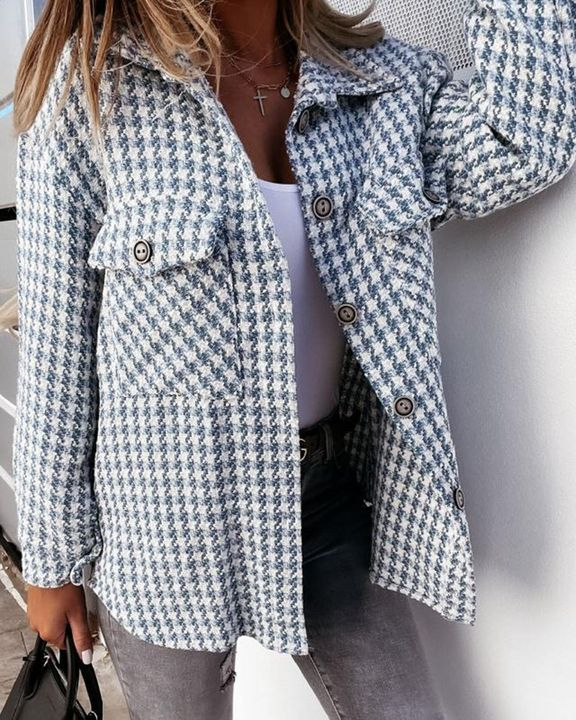 Houndstooth Pattern Button Up Flat Pocket Jacket gallery 8