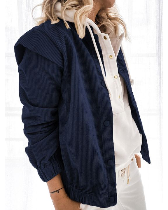 Solid Shoulder Padded Button Up Stand Collar Cord Coat gallery 8