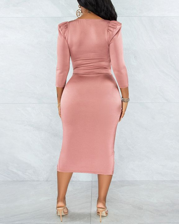 Solid Ruched Zip Front Split Hem Bodycon Midi Dress gallery 9