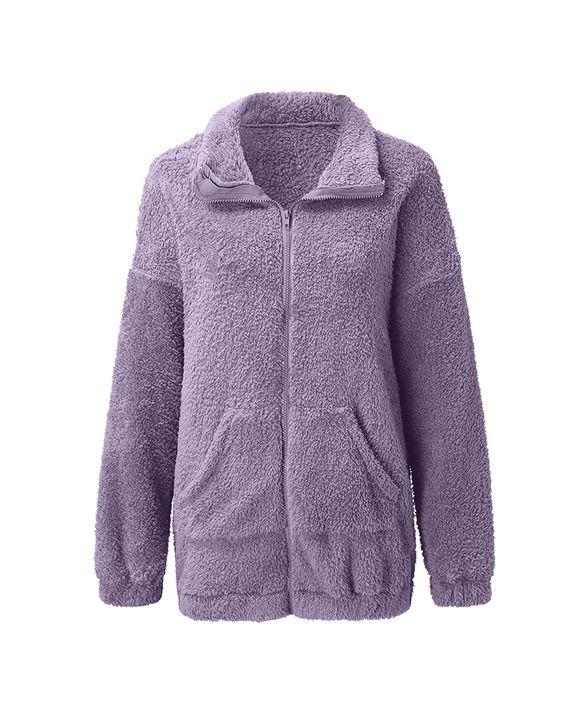 Solid Zip Up Pocket Detail Teddy Coat gallery 8