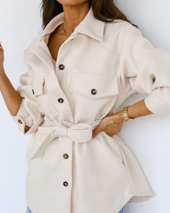 Solid Button Up Belted Flat Pocket Coat gallery 3