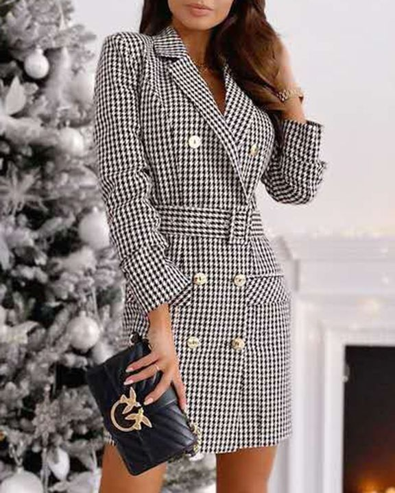 Plaid Print Buckle Belt Flap Pocket Double Breasted Coat gallery 4