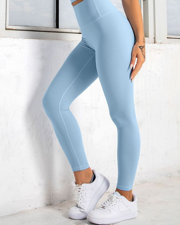 Solid High Waist Butt Lifting Cropped Sports Leggings gallery 8