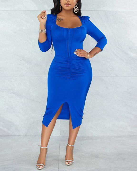 Solid Ruched Zip Front Split Hem Bodycon Midi Dress gallery 5
