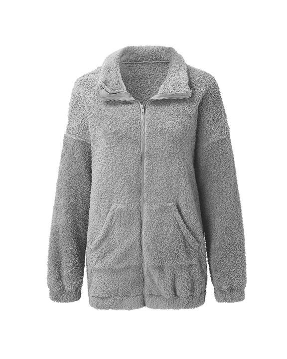 Solid Zip Up Pocket Detail Teddy Coat gallery 6