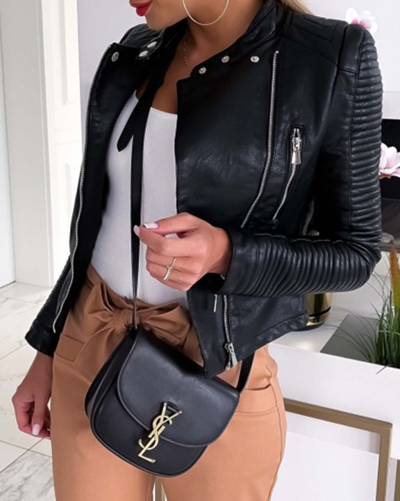Solid PU Leather Zip Button Front Moto Jacket gallery 3
