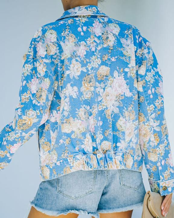 Floral Print Button Up Pocket Detail Jacket gallery 2