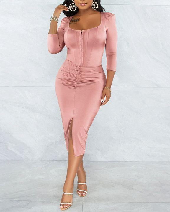 Solid Ruched Zip Front Split Hem Bodycon Midi Dress gallery 10