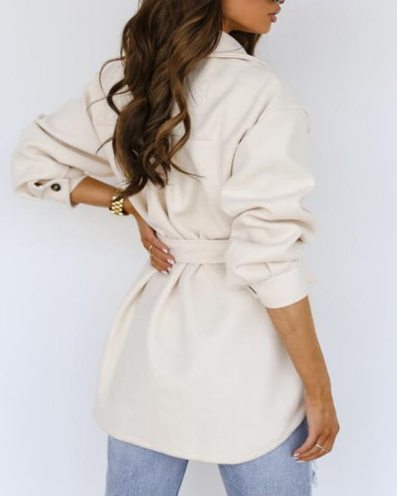 Solid Button Up Belted Flat Pocket Coat gallery 9