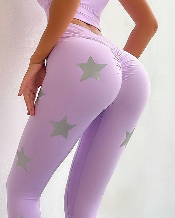 Star Print Scrunch Butt Wide Waistband Sports Leggings gallery 1