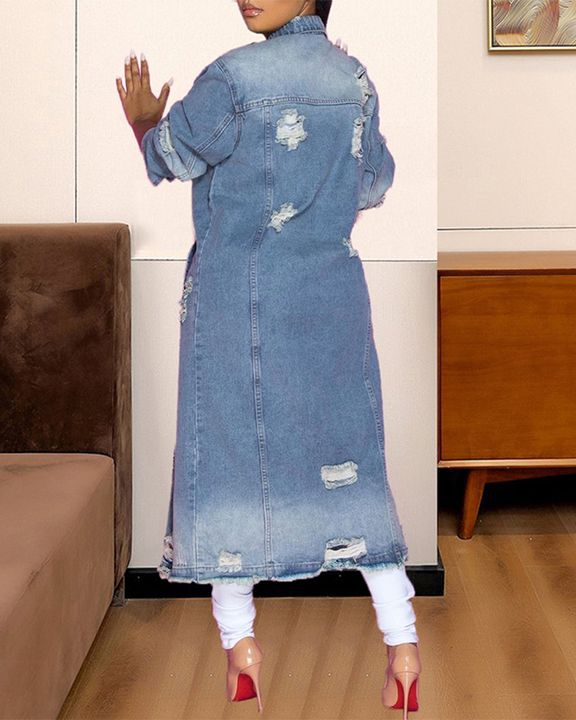 Ripped Button Up Flap Pocket Longline Denim Coat gallery 5