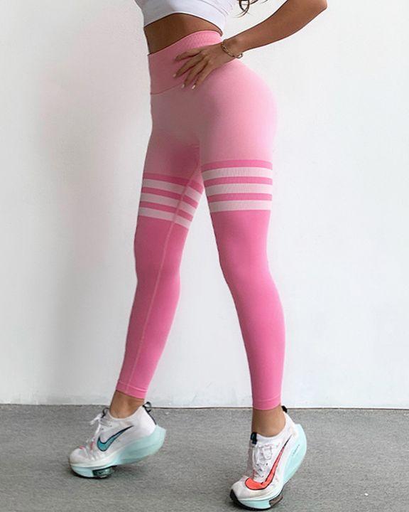 Seamless Stripe Colorblock Sports Leggings gallery 9