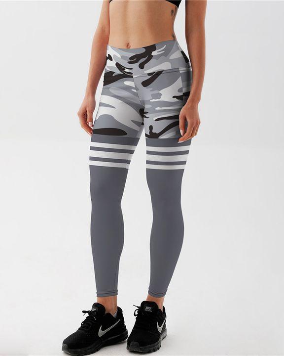 Camo Stripe Print High Waist Sports Leggings gallery 2