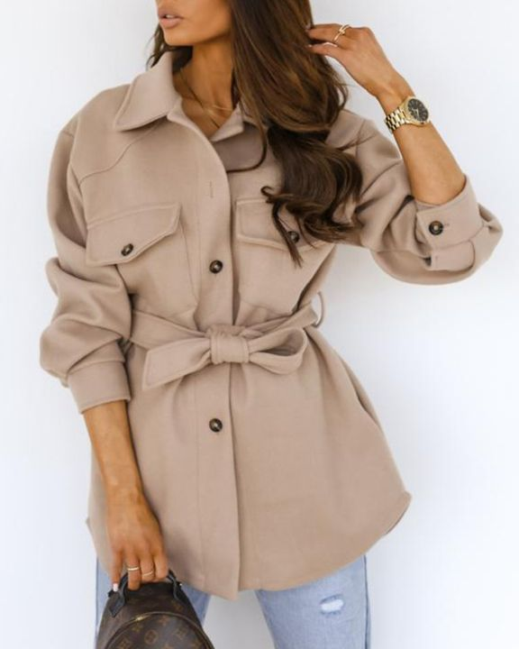 Solid Button Up Belted Flat Pocket Coat gallery 2