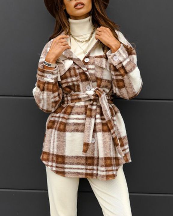 Plaid Button Up Self Belted Flap Pocket Coat gallery 10