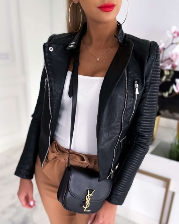 Solid PU Leather Zip Button Front Moto Jacket gallery 1