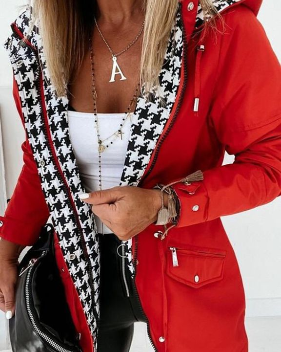 Zip Up Drawstring Detail Houndstooth Hooded Coat gallery 1