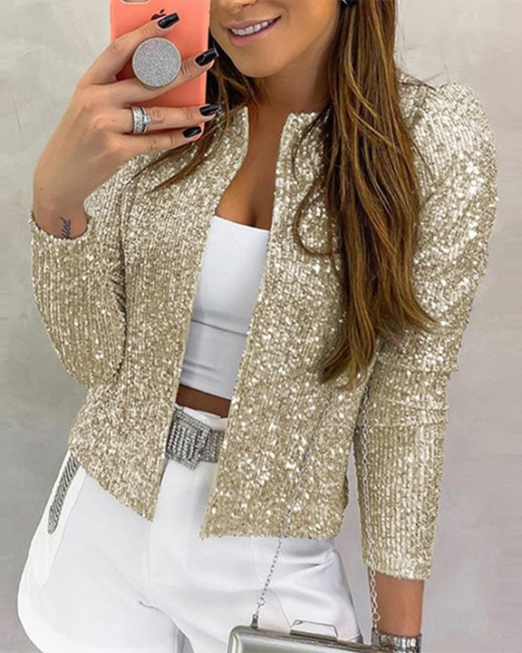 Solid Sequin Decor Open Front Jacket gallery 1