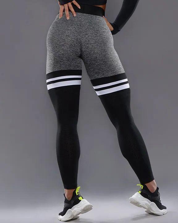 Colorblock Stripe High Waist Sports Leggings gallery 4