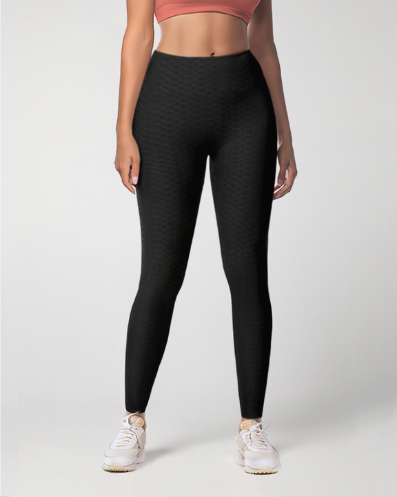 Dual Pocket Side Textured Ruched Wide Waistband Sports Leggings gallery 3
