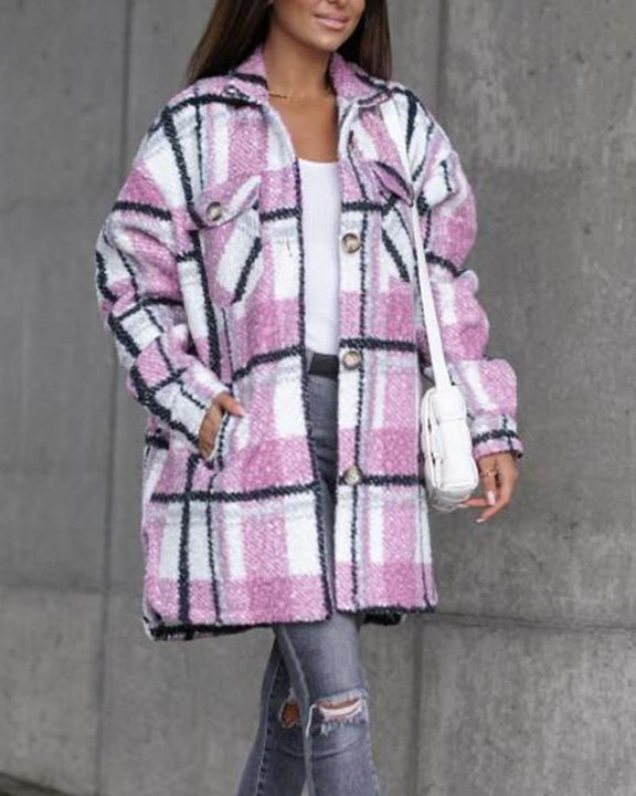 Plaid Print Button Through Pocket Detail Belted Coat gallery 6