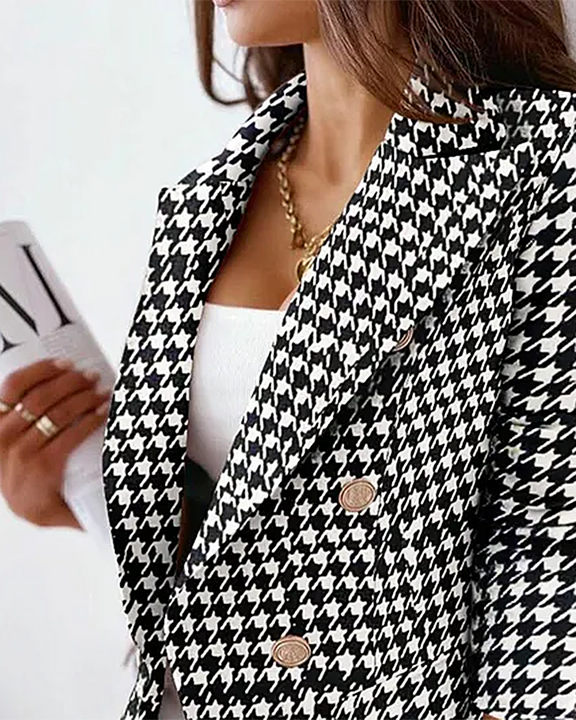 Houndstooth Double Breasted Lapel Neck Blazer gallery 2