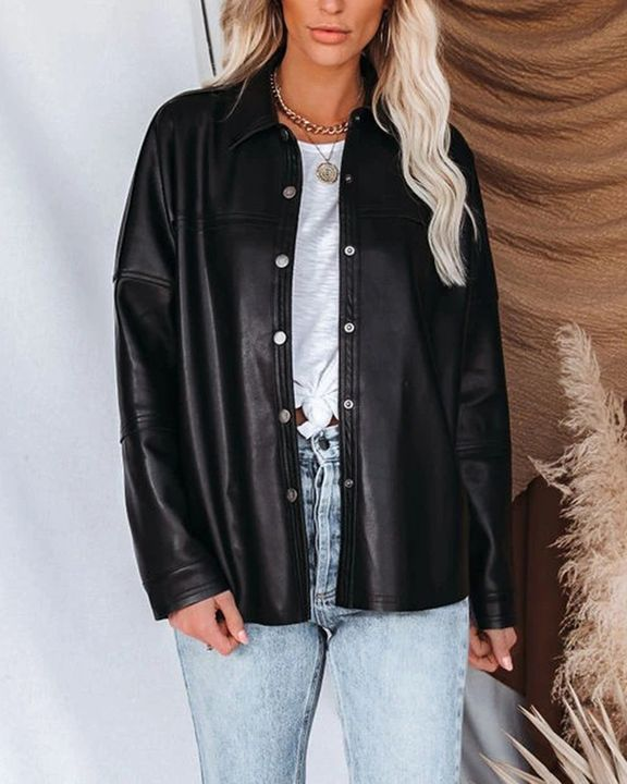 PU Leather Button Up Jacket gallery 9