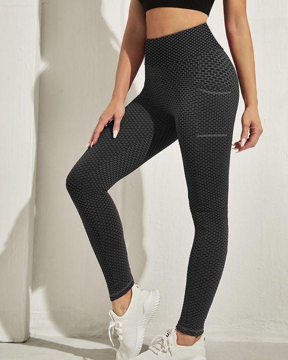 Honeycomb Textuerd Pocket Side Sports Leggings gallery 17