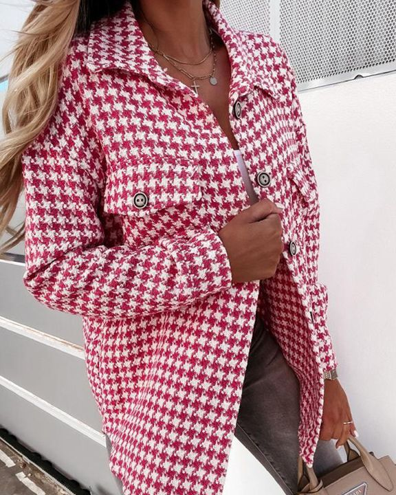 Houndstooth Pattern Button Up Flat Pocket Jacket gallery 6