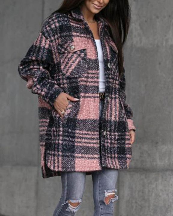 Plaid Print Button Through Pocket Detail Belted Coat gallery 7