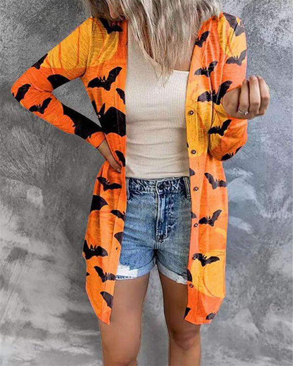 Halloween Batwing & Pumpkin Print Button Up Cardigan gallery 5