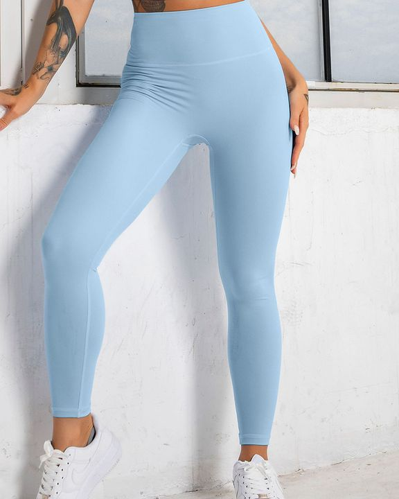 Solid High Waist Butt Lifting Cropped Sports Leggings gallery 3