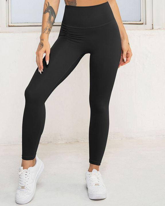 Solid High Waist Butt Lifting Cropped Sports Leggings gallery 2