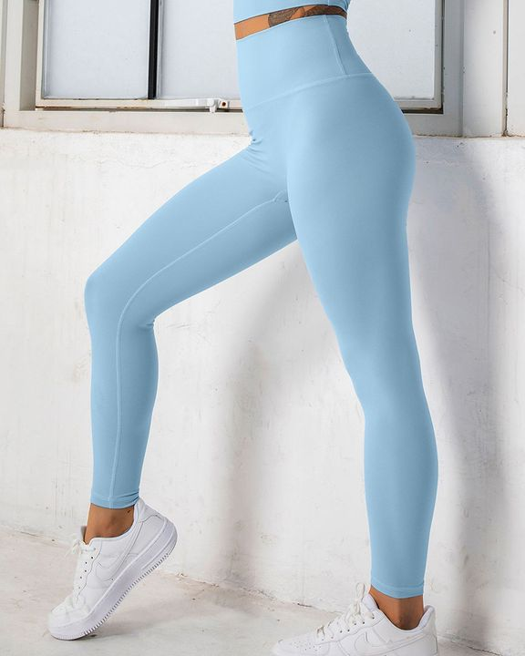 Solid High Waist Butt Lifting Cropped Sports Leggings gallery 9