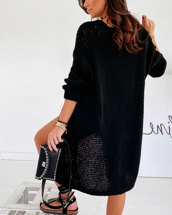 Solid Chunky Knit Drop Shoulder Open Front Cardigan gallery 10