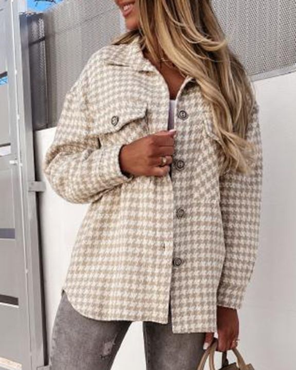 Houndstooth Pattern Button Up Flat Pocket Jacket gallery 9