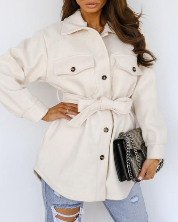 Solid Button Up Belted Flat Pocket Coat gallery 8