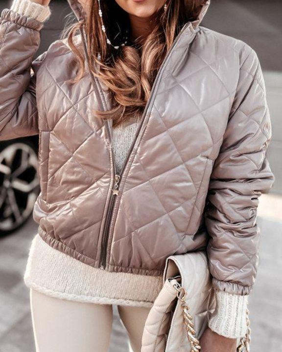 Argyle Quilted Zip Up Elastic Hem Hooded Jacket gallery 7