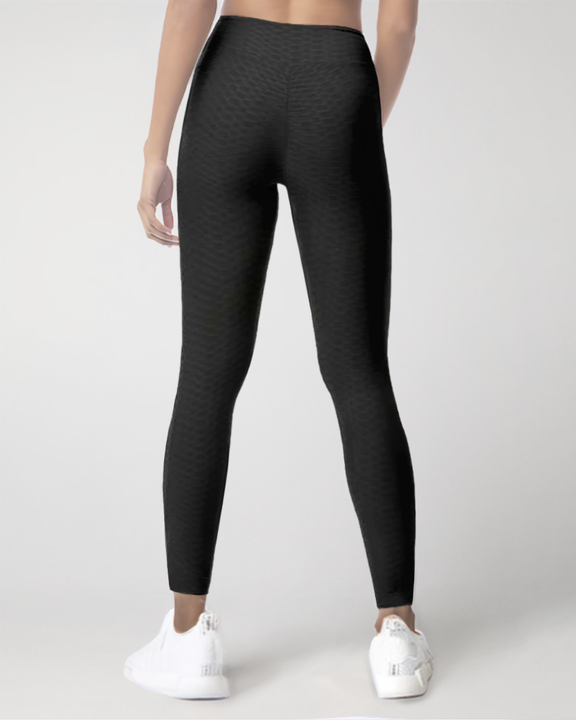 Dual Pocket Side Textured Ruched Wide Waistband Sports Leggings gallery 4