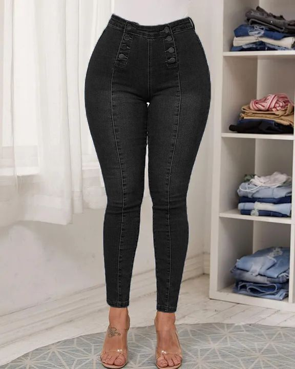 Double Breasted High Waist Skinny Jeans gallery 3