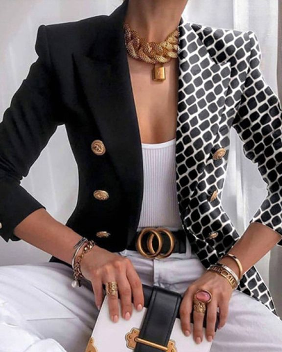 Colorblock Double Breasted Lapel Neck Blazer gallery 1